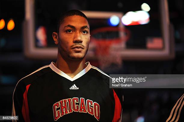 Derrick Rose of the Chicago Bulls stands during the singing of the national anthem before taking on the Los Angeles Clippers at Staples Center...