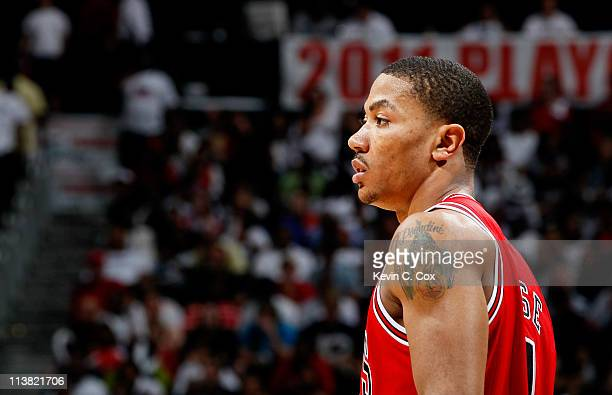 Derrick Rose of the Chicago Bulls waits during free throws against the Atlanta Hawks in Game Three of the Eastern Conference Semifinals in the 2011...