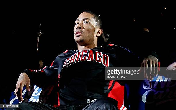 Derrick Rose of the Chicago Bulls waits for introductions against the Atlanta Hawks in Game Four of the Eastern Conference Semifinals in the 2011 NBA...