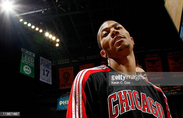 Derrick Rose of the Chicago Bulls walks off the court after their 99-82 win over the Atlanta Hawks in Game Three of the Eastern Conference Semifinals...