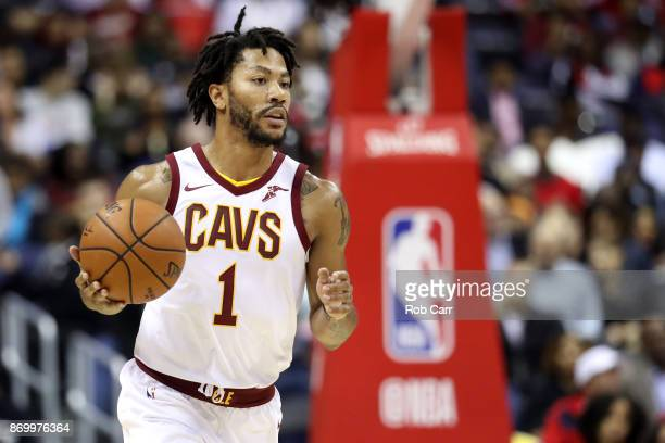 Derrick Rose of the Cleveland Cavaliers dribbles the ball against the Washington Wizards at Capital One Arena on November 3 2017 in Washington DC...