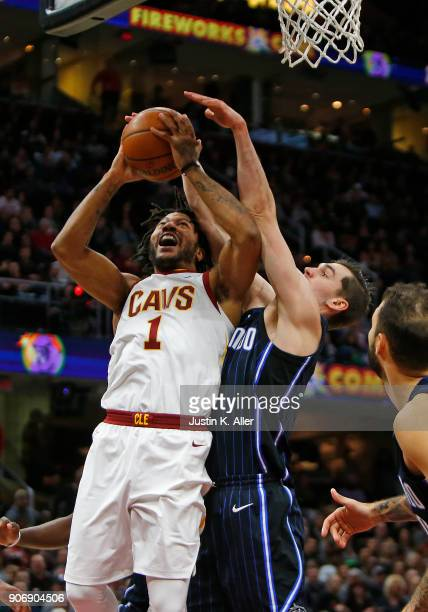 Derrick Rose of the Cleveland Cavaliers drives to the rim against the Orlando Magic at Quicken Loans Arena on January 18 2018 in Cleveland Ohio NOTE...