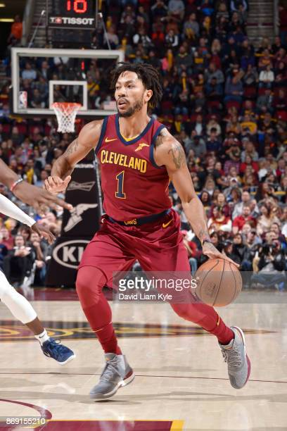 Derrick Rose of the Cleveland Cavaliers handles the ball against the Indiana Pacers on November 1 2017 at Quicken Loans Arena in Cleveland Ohio NOTE...
