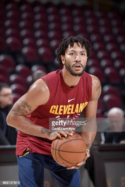 Derrick Rose of the Cleveland Cavaliers handles the ball before the game against the Indiana Pacers on November 1 2017 at Quicken Loans Arena in...