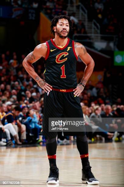 Derrick Rose of the Cleveland Cavaliers looks on during the game against the Oklahoma City Thunder on January 20 2018 at Quicken Loans Arena in...
