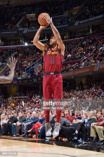 Derrick Rose of the Cleveland Cavaliers shoots the ball against the Indiana Pacers on November 1 2017 at Quicken Loans Arena in Cleveland Ohio NOTE...