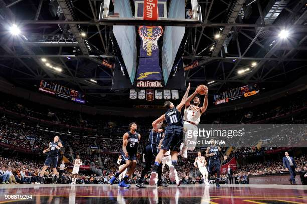 Derrick Rose of the Cleveland Cavaliers shoots the ball during the game against the Orlando Magic on January 18 2018 at Quicken Loans Arena in...