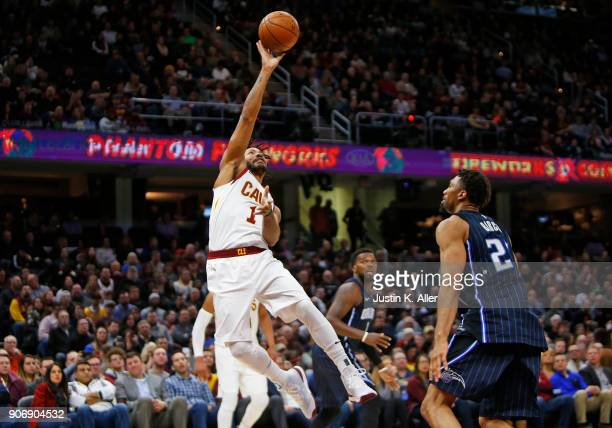 Derrick Rose of the Cleveland Cavaliers takes a shot against Elfrid Payton of the Orlando Magic at Quicken Loans Arena on January 18 2018 in...