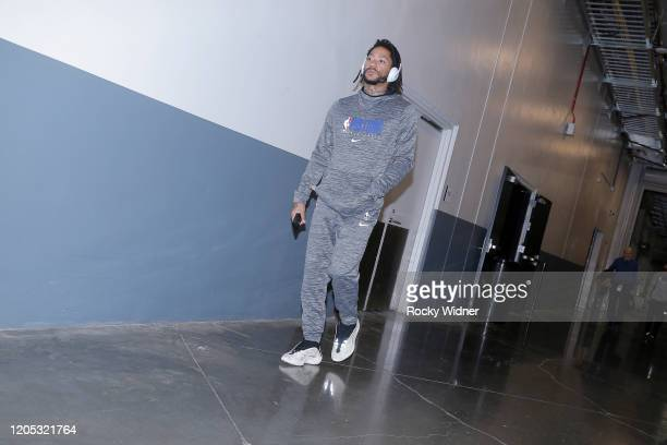 Derrick Rose of the Detroit Pistons arrives to the arena prior to the game against the Sacramento Kings on March 1 2020 at Golden 1 Center in...