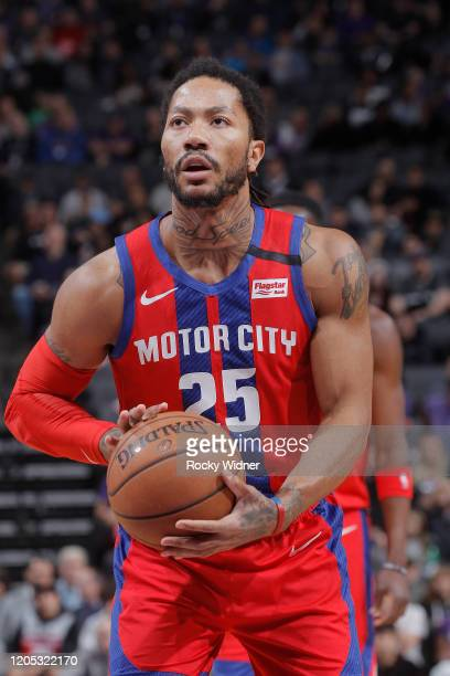 Derrick Rose of the Detroit Pistons attempts a freethrow shot against the Sacramento Kings on March 1 2020 at Golden 1 Center in Sacramento...