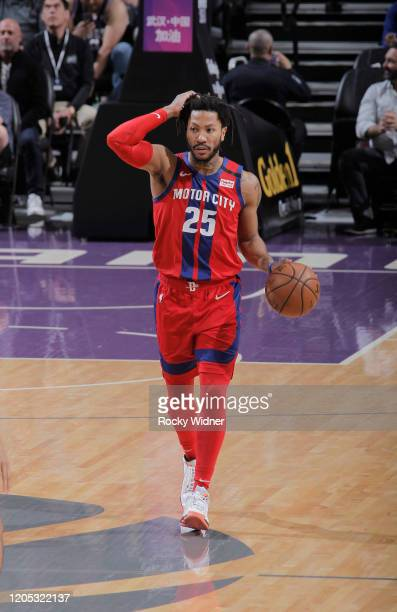 Derrick Rose of the Detroit Pistons brings the ball up the court against the Sacramento Kings on March 1 2020 at Golden 1 Center in Sacramento...