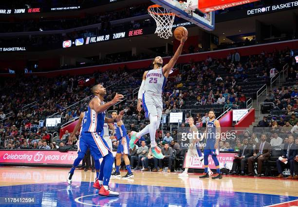 Derrick Rose of the Detroit Pistons drives the ball to the basket during the fourth quarter of the game against the Philadelphia 76ers at Little...