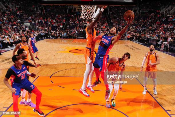 Derrick Rose of the Detroit Pistons drives to the basket against the Phoenix Suns on February 28 2020 at Talking Stick Resort Arena in Phoenix...