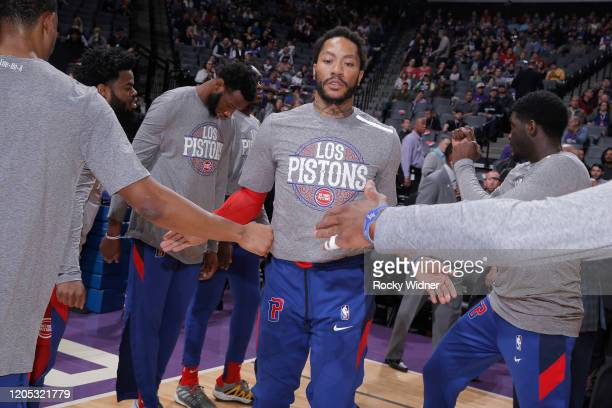 Derrick Rose of the Detroit Pistons gets introduced into the starting lineup against the Sacramento Kings on March 1 2020 at Golden 1 Center in...