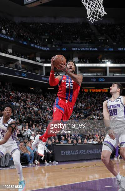 Derrick Rose of the Detroit Pistons goes up for the shot against the Sacramento Kings on March 1 2020 at Golden 1 Center in Sacramento California...