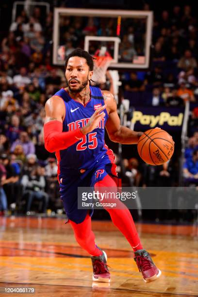 Derrick Rose of the Detroit Pistons handles the ball against the Phoenix Suns on February 28 2020 at Talking Stick Resort Arena in Phoenix Arizona...