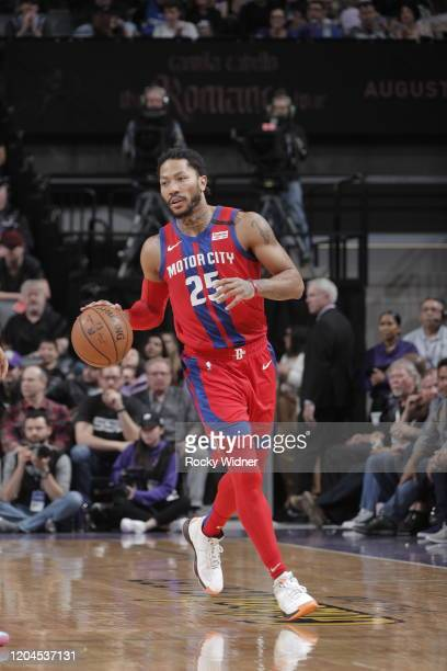 Derrick Rose of the Detroit Pistons handles the ball against the Sacramento Kings on March 1 2020 at Golden 1 Center in Sacramento California NOTE TO...