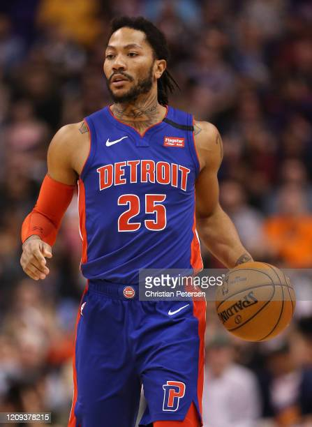 Derrick Rose of the Detroit Pistons handles the ball during the first half of the NBA game against the Phoenix Suns at Talking Stick Resort Arena on...
