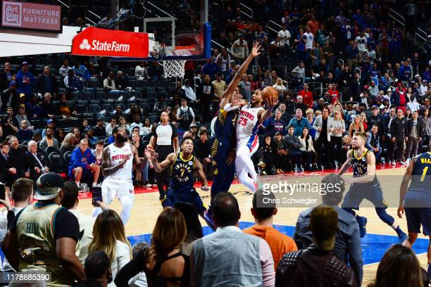 Derrick Rose of the Detroit Pistons hits the game-winning shot against the Indiana Pacers on October 28, 2019 at Little Caesars Arena in Detroit,...