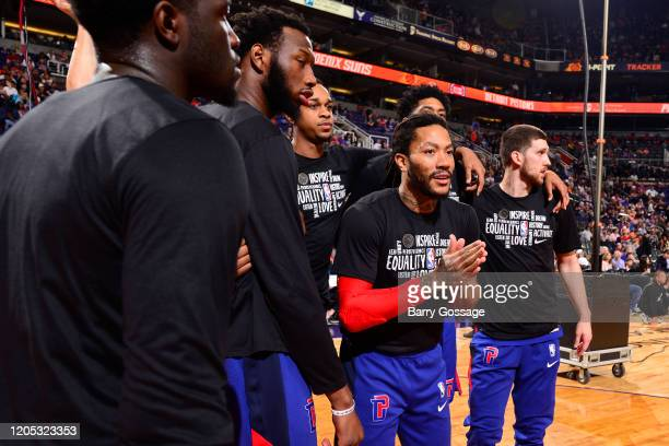 Derrick Rose of the Detroit Pistons hypes up the team before the game against the Phoenix Suns on February 28 2020 at Talking Stick Resort Arena in...