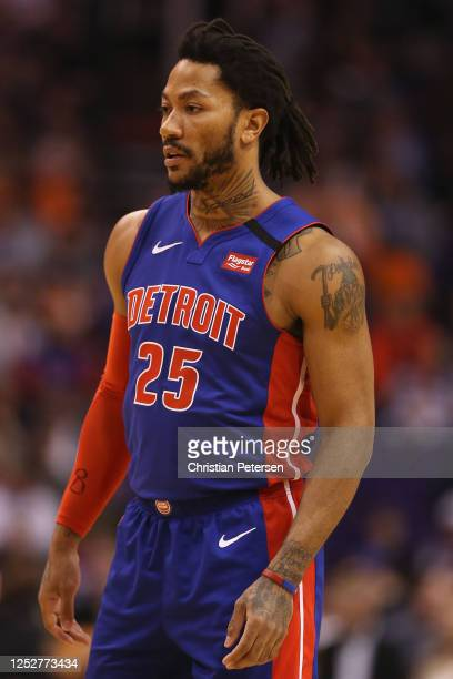 Derrick Rose of the Detroit Pistons in action during the first half of the NBA game against the Phoenix Suns at Talking Stick Resort Arena on...