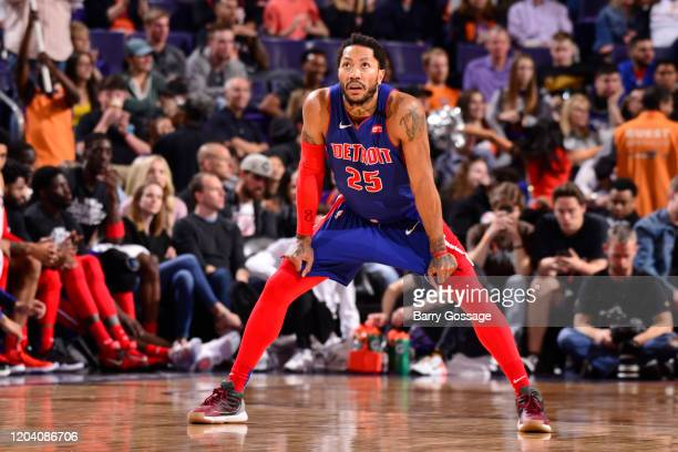 Derrick Rose of the Detroit Pistons looks on during the game against the Phoenix Suns on February 28 2020 at Talking Stick Resort Arena in Phoenix...