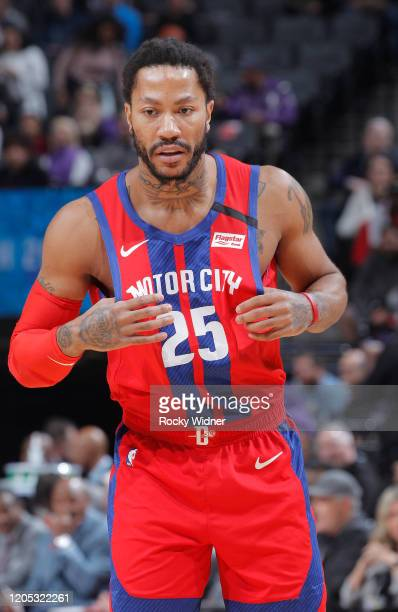 Derrick Rose of the Detroit Pistons looks on during the game against the Sacramento Kings on March 1 2020 at Golden 1 Center in Sacramento California...