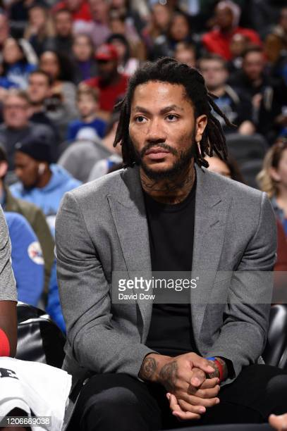 Derrick Rose of the Detroit Pistons looks on during the game against the Philadelphia 76ers on March 11 2020 at the Wells Fargo Center in...