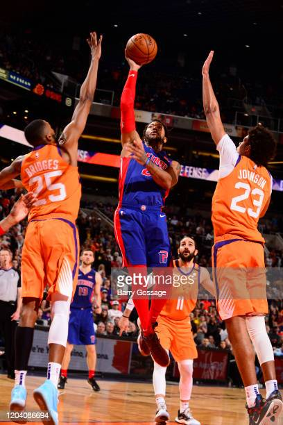 Derrick Rose of the Detroit Pistons of the Detroit Pistons shoots the ball against the Phoenix Suns on February 28 2020 at Talking Stick Resort Arena...