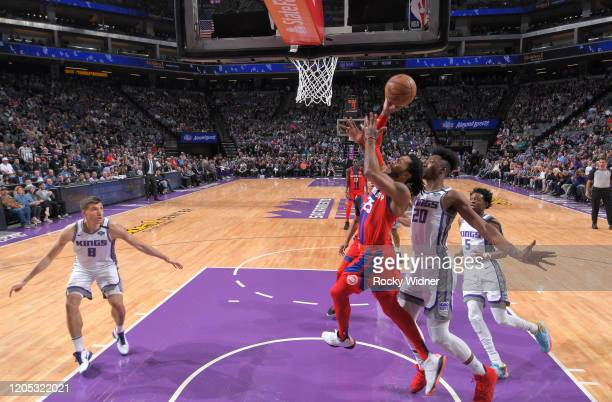 Derrick Rose of the Detroit Pistons puts up a shot against Harry Giles III of the Sacramento Kings on March 1 2020 at Golden 1 Center in Sacramento...