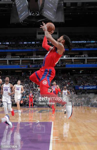 Derrick Rose of the Detroit Pistons puts up a shot against the Sacramento Kings on March 1 2020 at Golden 1 Center in Sacramento California NOTE TO...