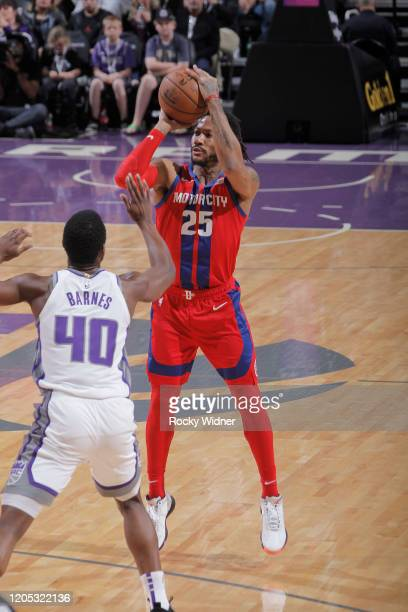Derrick Rose of the Detroit Pistons shoots a three pointer against the Sacramento Kings on March 1 2020 at Golden 1 Center in Sacramento California...