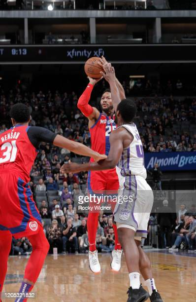Derrick Rose of the Detroit Pistons shoots against the Sacramento Kings on March 1 2020 at Golden 1 Center in Sacramento California NOTE TO USER User...