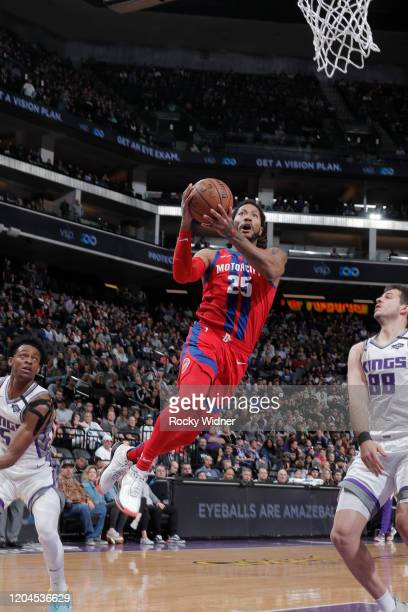 Derrick Rose of the Detroit Pistons shoots the ball against the Sacramento Kings on March 1 2020 at Golden 1 Center in Sacramento California NOTE TO...