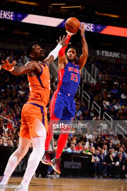 Derrick Rose of the Detroit Pistons shoots the ball against the Phoenix Suns on February 28 2020 at Talking Stick Resort Arena in Phoenix Arizona...