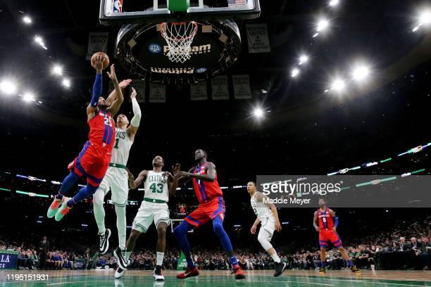 Derrick Rose of the Detroit Pistons takes a shot against Enes Kanter of the Boston Celtics at TD Garden on December 20, 2019 in Boston,...