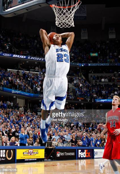 Derrick Rose of the Memphis Tigers dunks in a game against Arizona Wildcats at FedExForum December 29, 2007 in Memphis, Tennessee. The Tigers beat...