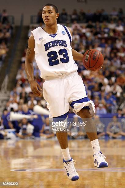 Derrick Rose of the Memphis Tigers moves the ball against the Mississippi State Bulldogs during the second round of the South Regional as part of the...