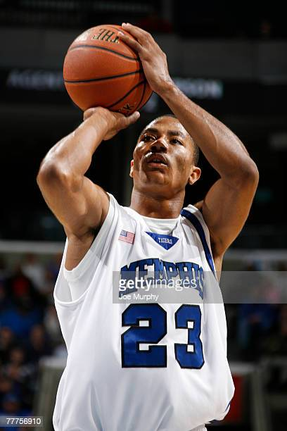 Derrick Rose of the Memphis Tigers shoots a freethrow in a game against the Richmond Spiders during the 2007 2K Sports College Hoops Classic...