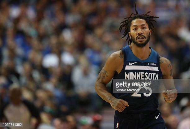 Derrick Rose of the Minnesota Timberwolves at American Airlines Center on October 20 2018 in Dallas Texas NOTE TO USER User expressly acknowledges...