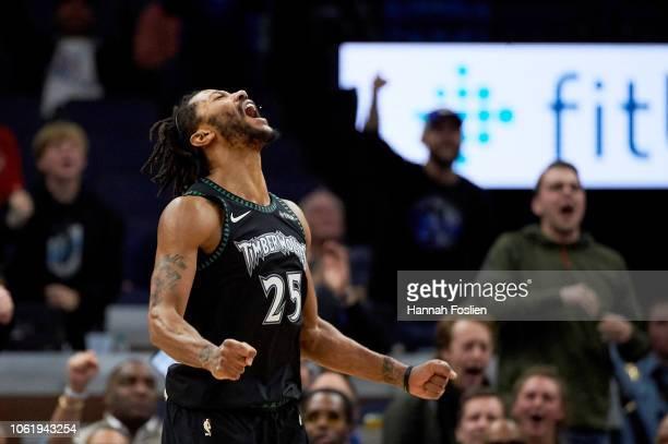 b5e73e36466f Derrick Rose of the Minnesota Timberwolves celebrates a play during the  fourth quarter of the game