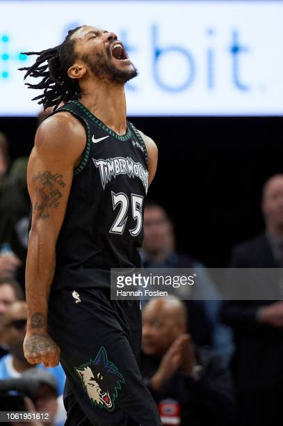 Derrick Rose of the Minnesota Timberwolves celebrates a play during the fourth quarter of the game against the Utah Jazz on October 31 2018 at the...