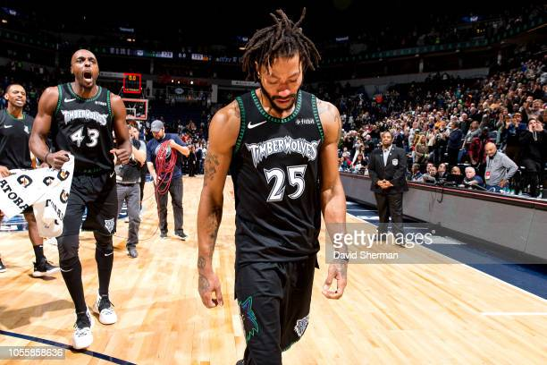 Derrick Rose of the Minnesota Timberwolves cries after the game against the Utah Jazz on October 31 2018 at Target Center in Minneapolis Minnesota...