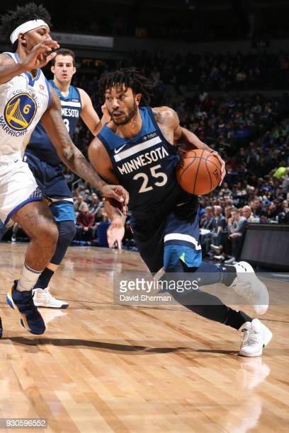 Derrick Rose of the Minnesota Timberwolves drives to the basket during the game against the Golden State Warriors on March 11 2018 at Target Center...
