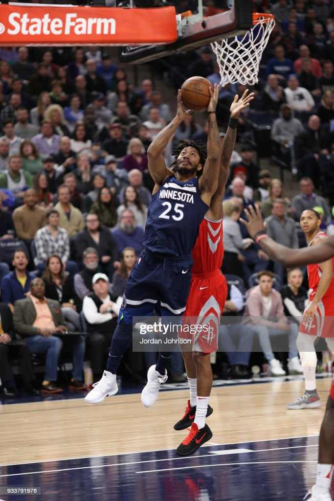 71679c4ac30b Derrick Rose of the Minnesota Timberwolves dunks against the Houston ...