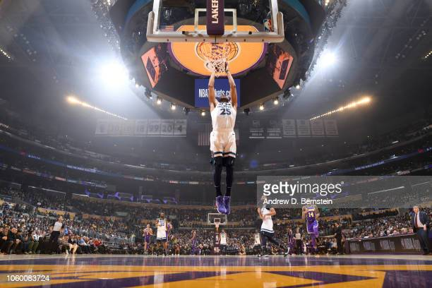 Derrick Rose of the Minnesota Timberwolves dunks the ball against the Los Angeles Lakers on November 7 2018 at STAPLES Center in Los Angeles...