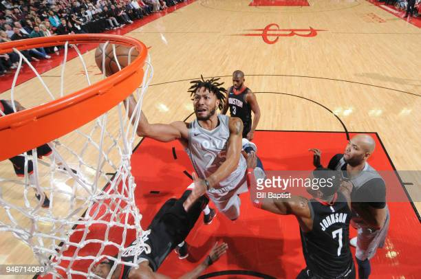 Derrick Rose of the Minnesota Timberwolves goes to the basket against the Houston Rockets in Game One of Round One of the 2018 NBA Playoffs on April...