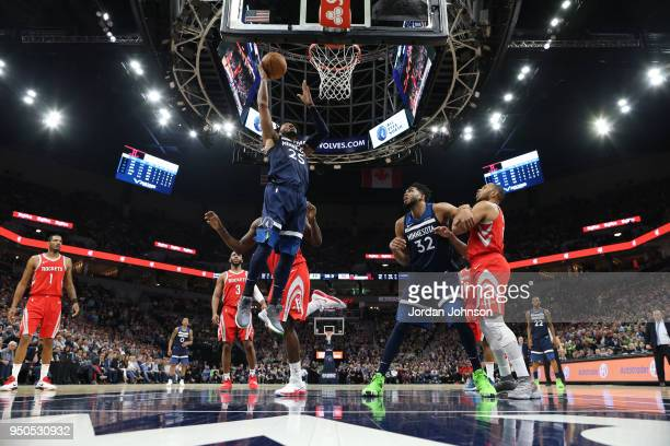Derrick Rose of the Minnesota Timberwolves goes to the basket against the Houston Rockets in Game Four of Round One of the 2018 NBA Playoffs on April...
