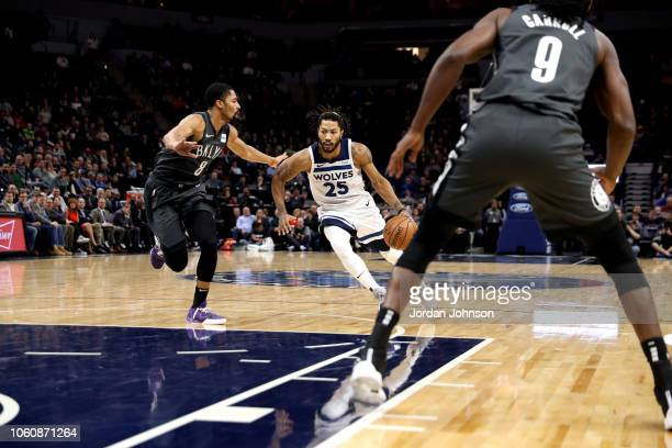 Derrick Rose of the Minnesota Timberwolves handles the ball against the Brooklyn Nets on November 12 2018 at Target Center in Minneapolis Minnesota...