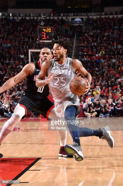 Derrick Rose of the Minnesota Timberwolves handles the ball against the Houston Rockets in Game One of Round One of the 2018 NBA Playoffs on April 15...